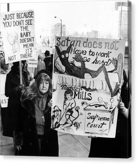 Abortion Canvas Print - Anti-abortion Demonstrators March by Everett