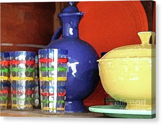 Antique Fiesta Dishes 3 Canvas Print by Marilyn West