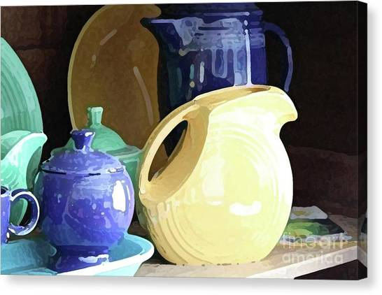 Antique Fiesta Dishes II Canvas Print by Marilyn West
