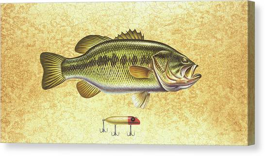 Smallmouth Bass Canvas Print - Antique Lure And Bass by JQ Licensing