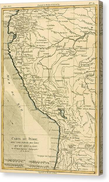 Peruvian Canvas Print - Antique Map Of Peru by Guillaume Raynal