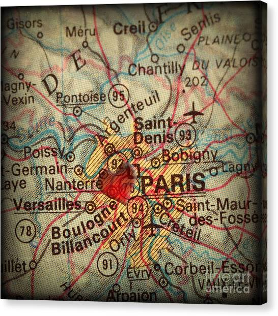 Antique Map With A Heart Over The City Of Paris In France Canvas Print by ELITE IMAGE photography By Chad McDermott