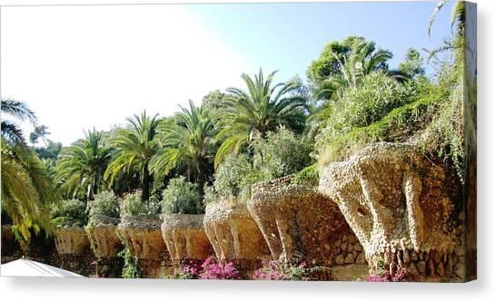 Antoni Gaudi Park Guell Plants Barcelona Spain Canvas Print by John Shiron