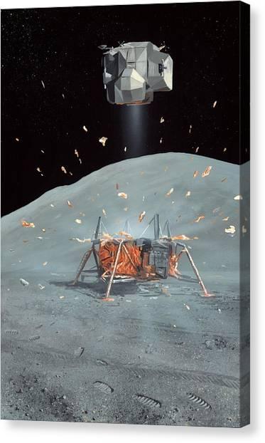 Apollo 17 Ascent Stage, Artwork Canvas Print by Richard Bizley