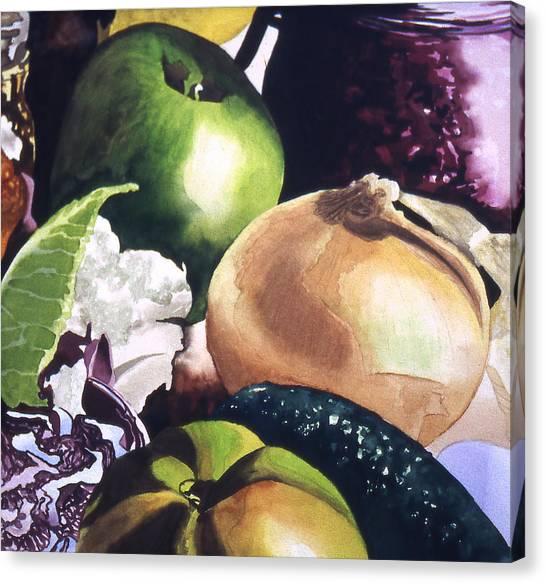 Apple And Onion Canvas Print by Eunice Olson