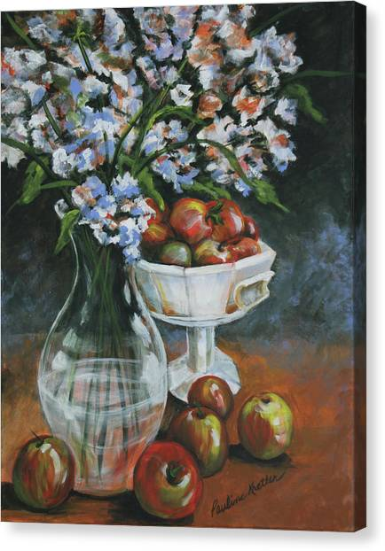 Apples And Flowers Canvas Print