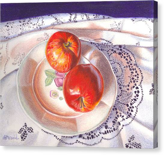 Apples And Lace Canvas Print by Lidia Penczar