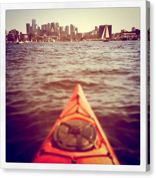 Sailboats Canvas Print - Approaching Seattle by Florian Divi