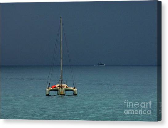 Surfboard Fence Canvas Print - Approaching Storm by Bob Christopher