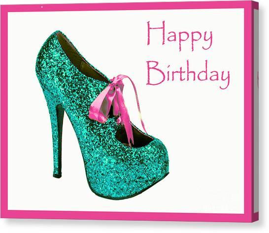 Aqua Glitter Birthday Shoe Canvas Print by Maralaina Holliday
