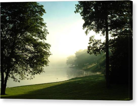 Aqua Lake Myst And Trees Canvas Print