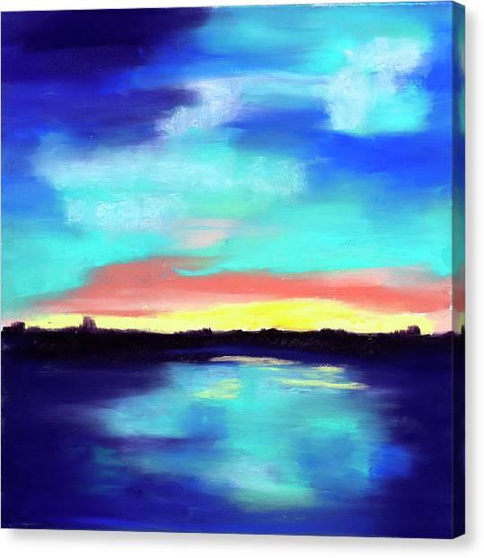 Aqua Reflections Canvas Print by Diana Tripp