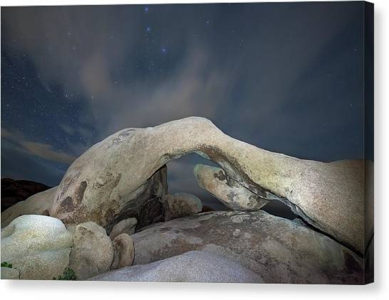 Arch Rock With Stars, Joshua Tree National Park Canvas Print by Daniel Osterkamp