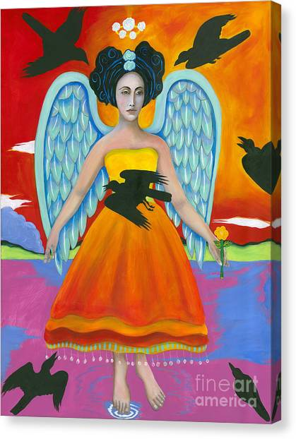 Archangel Zadklie Comes To Calm The Brewing Storm Canvas Print by Christina Miller