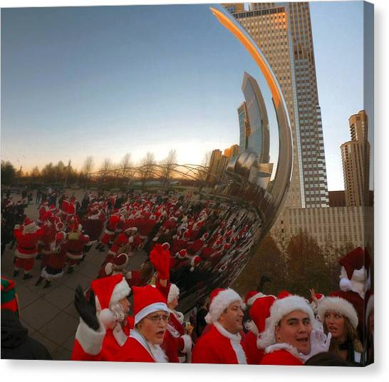 Architecture Chicago Cloud Gate With Santas Canvas Print