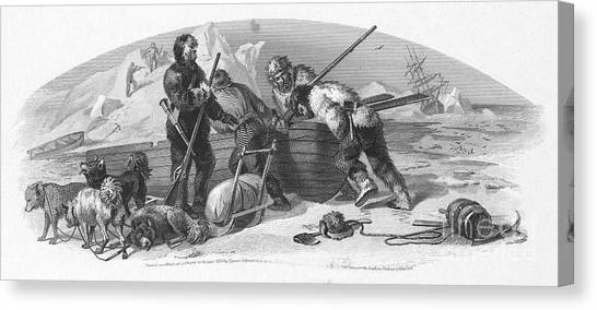 Sleds Canvas Print - Arctic Exploration, 1856 by Granger