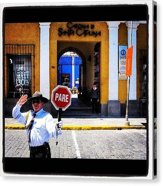 Peruvian Canvas Print - #arequipa #police #policeman #day #pare by Alon Ben Levy