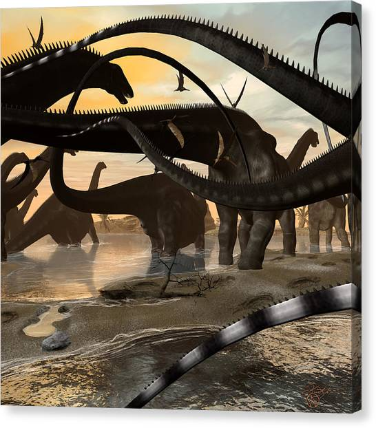 Brontosaurus Canvas Print - Argentinosaurus Migration by Kurt Miller