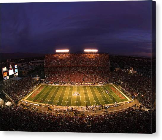 University Of Arizona Ua Canvas Print - Arizona Arizona Stadium Under The Lights by J and L Photography