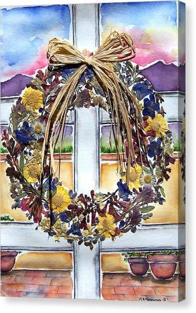Arizona Wildflower Wreath Canvas Print by Regina Ammerman
