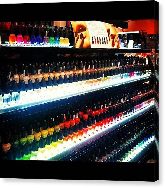 Hands Canvas Print - Array Of Nail Polish by Lea Ward