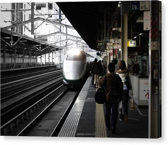 Bullet Trains Canvas Print - Arriving Train by Naxart Studio
