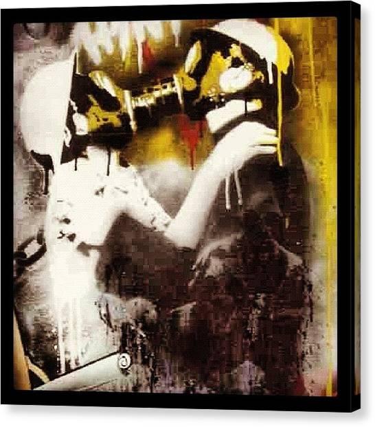 Kiss Canvas Print - #art #colour #mask #street #graf by Nigel Brown
