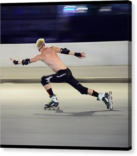 Roller Skating Canvas Print - Artistic Roller Skating Is A Sport by Michael Goyberg
