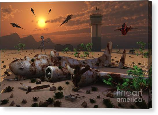 Air Traffic Control Canvas Print - Artists Concept Of A Science Fiction by Mark Stevenson