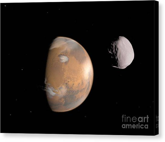 Planetoid Canvas Print - Artists Concept Of Mars And Its Moon by Walter Myers
