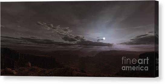 Sunrise Horizon Canvas Print - Artists Concept Of The Sun Rising by Frieso Hoevelkamp