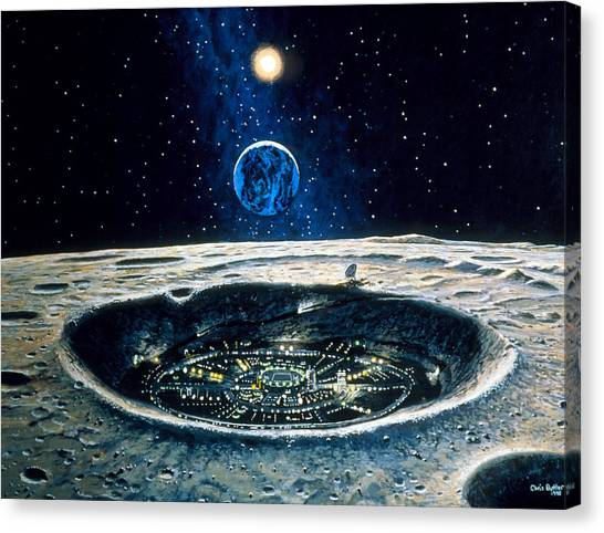 Artwork Of A City In A Crater On The Moon Canvas Print by Chris Butler
