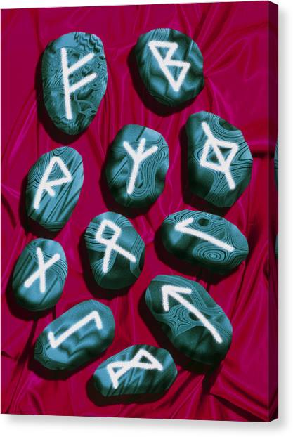 Artwork Of Rune Stones Used For Fortune Telling Canvas Print by Victor Habbick Visions