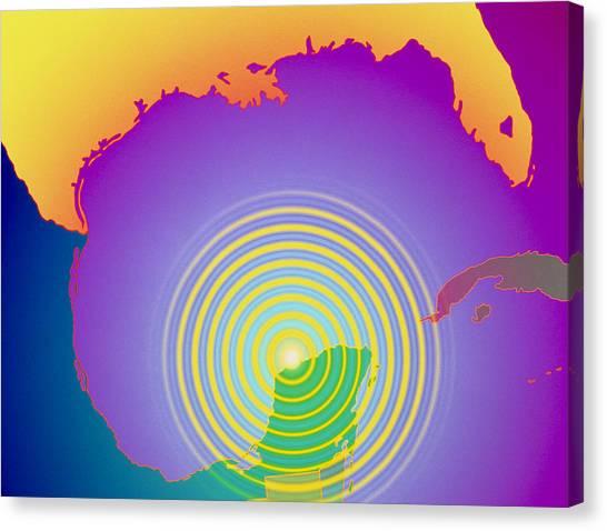 Dinosaur Map Canvas Print - Artwork Showing Chicxulub Impact Crater, Yucatan by Mehau Kulyk