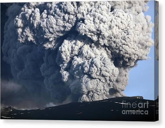 Eyjafjallajokull Canvas Print - Ash Cloud Erupting by Richard Roscoe