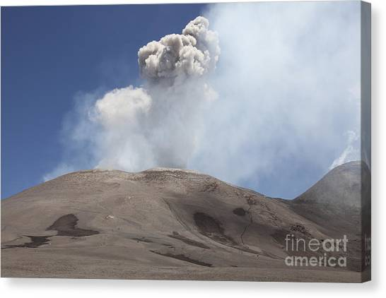 Mount Etna Canvas Print - Ash Cloud From Bocca Nuova Crater by Richard Roscoe