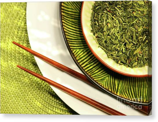 Sweet Tea Canvas Print - Asian Bowls Filled With Herbs by Sandra Cunningham