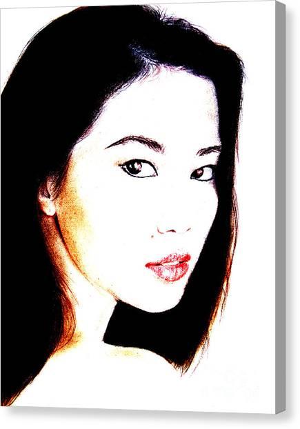 Lucy Liu Canvas Print - Asian Model  by Jim Fitzpatrick