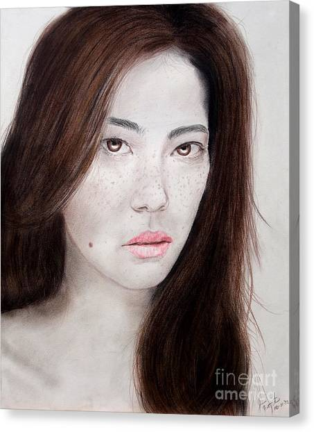 Lucy Liu Canvas Print - Asian Model With Freckles by Jim Fitzpatrick