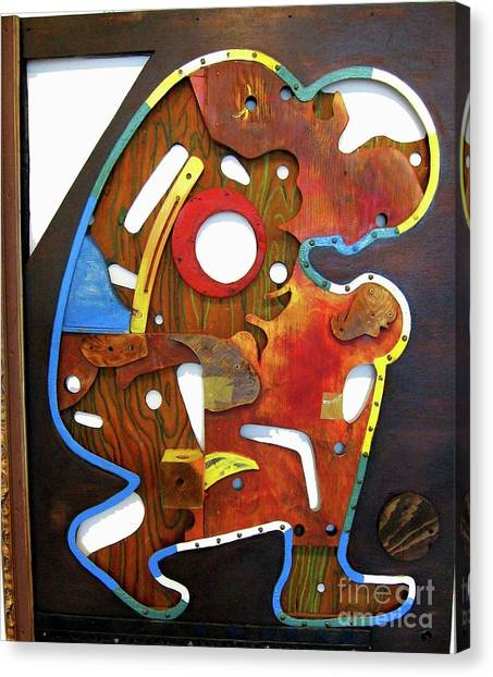 Assemblage Painting A Canvas Print