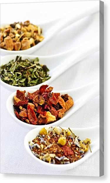 Tea Leaves Canvas Print - Assorted Herbal Wellness Dry Tea In Spoons by Elena Elisseeva