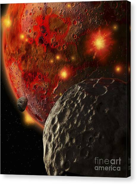 Planetoid Canvas Print - Asteroid Impacts On The Early Earth by Ron Miller