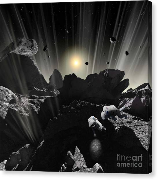 Planetoid Canvas Print - Astronauts Explore The Tumultuous by Ron Miller