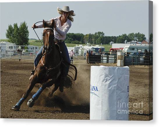Barrel Racing Canvas Print - At Full Speed by Bob Christopher