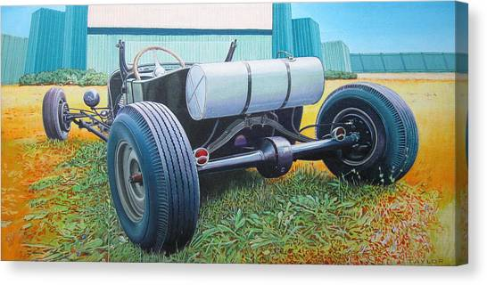 Car Hod Canvas Print - At The Drive In by Jeff Taylor