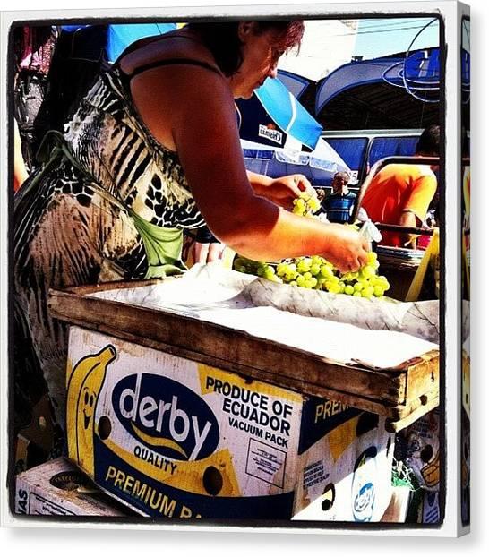 Grapes Canvas Print - At The Market. #market #grapes #candid by Richard Randall