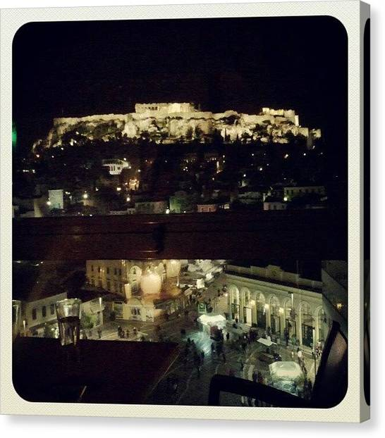 The Acropolis Canvas Print - Athens By Night by Kostas Fryganiotis