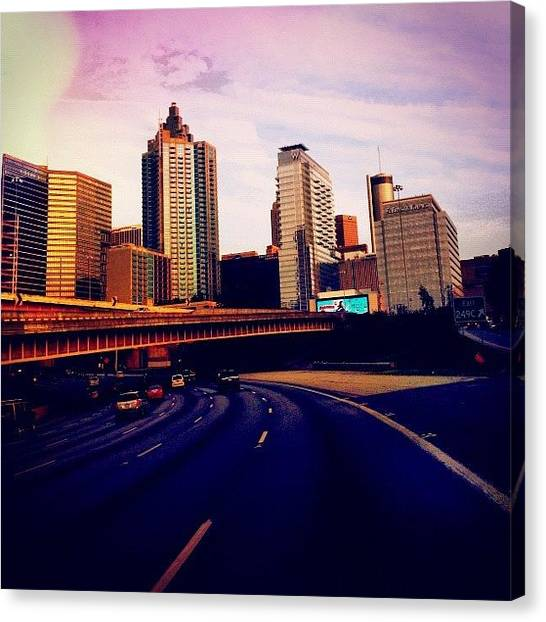 Interstates Canvas Print - #atlanta #sky #skyline #city #highway by Samantha J