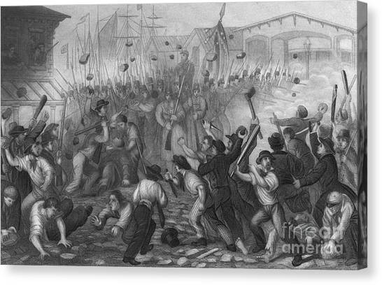 South Baltimore Canvas Print - Attack On The Massachusetts 6th, 1861 by Photo Researchers