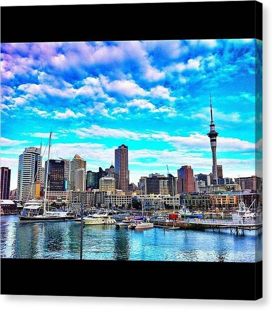 Yachts Canvas Print - #auckland, #newzealand, #harbour by Evgeny Poliganov